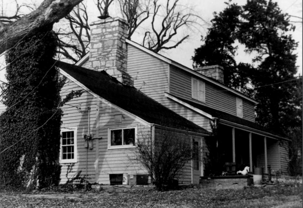 In this December 1979 black-and-white photo submitted in the 1980s to the National Register of Historic Places, the view of the house is seen from the southeast.