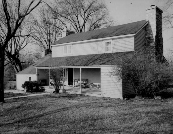 In this black-and-white photo submitted in the 1980s to the National Register of Historic Places, the view of the house from the northeast, with the exterior looking southwest, is seen.