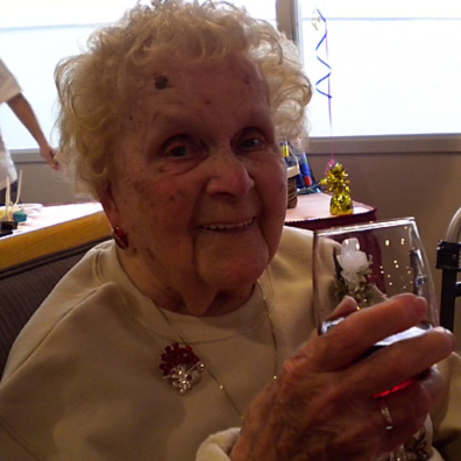 Julia Frank celebrates her 104th birthday at the Garden Villas South Retirement Community in south county.