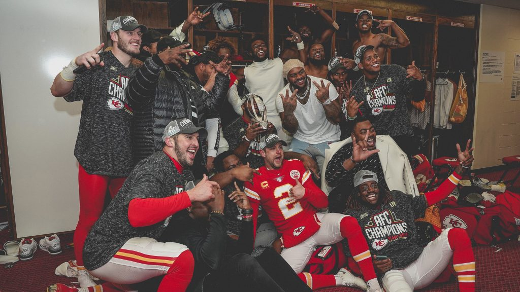 The+Kansas+City+Chiefs+celebrate+their+AFC+championship+Sunday.+