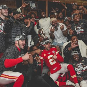 The Kansas City Chiefs celebrate their AFC championship in January 2020.