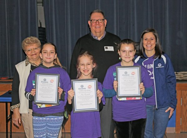 Forder Elementary Terrific Kids of the Month for November 2018 are: Pictured front row, from left, are: Pictured in the front row are Josalyne Brown, Lily Fairchild and Minela Kafedzic.  In the back row, from left, are Kiwanians Pauline Roth and Roy Wunsch along with Forder Elementary Principal Whitney Maus.