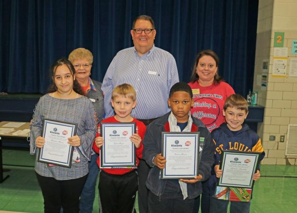 Beasley Elementary Terrific Kids October 2018: Pictured in the front row are, left to right: Mariam Aburas, Tyler Hayes, Xavier Harris and Dominic Castaldi.  In the second row are Kiwanians Pauline Roth, Roy Wunsch and Beasley Principal Andrea Deane.