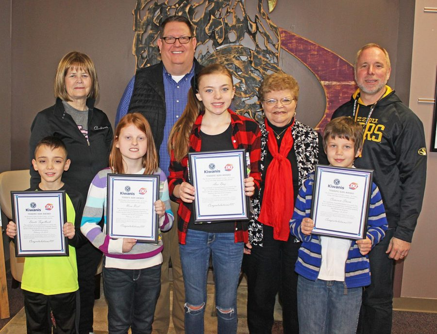 These+students+were+chosen+as+Kiwanis+Terrific+Kids+in+February+2018.+Pictured%2C+from+left%2C+are%3A+Students+are%2C+left+to+right%2C+Dante+Fogelbach%2C+Nora+Reid%2C+Ava+Day+and+Cameron+Sturm.%C2%A0+The+adults+are%2C+left+to+right%2C+Linda+Bowen%2C+Roy+Wunsch%2C+Pauline+Roth+and+Hagemann+Principal+Scott+Andrews.