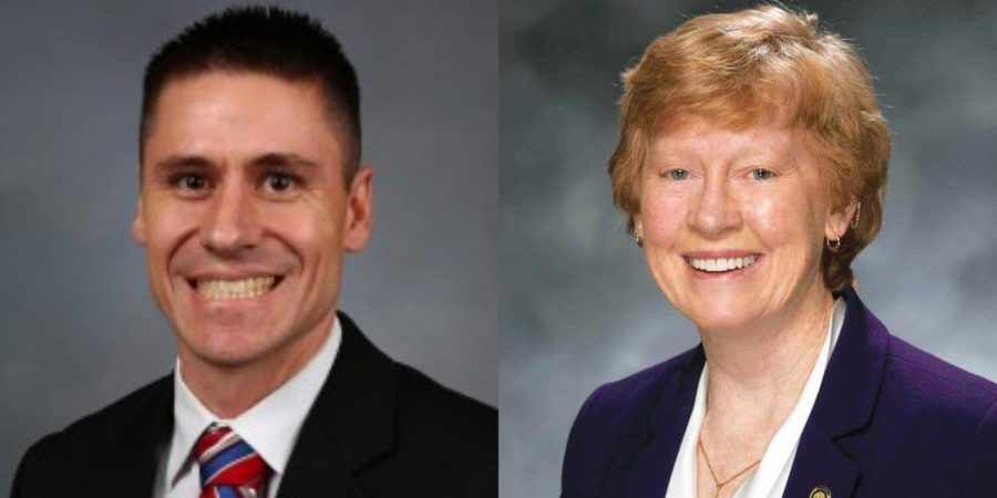 State Sen. Andrew Koenig, left, and Rep. Deb Lavender, right.
