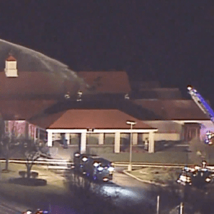 Footage of the fire being extinguished by the Mehlville Fire Protection District. Photo from Fox 2.