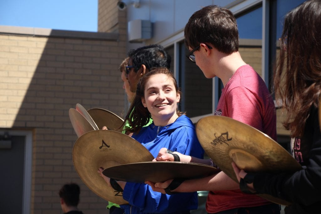 The+Lindbergh+High+School+Drumline+performs+for+students+on+April+12%2C+2019+during+the+band%E2%80%99s+annual+36-Hour+Musicthon+to+raise+money+for+childhood+cancer+research.+The+event+raised+%242%2C200+for+Alex%E2%80%99s+Lemonade+Stand.