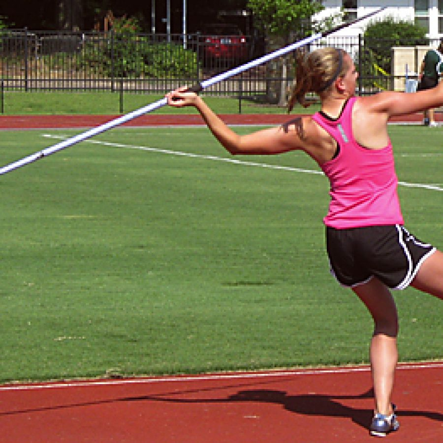 Lindbergh High School sophomore Anne Massey competes in the javelin event at the USATF Region 9 Junior Olympic Track and Field Championships July 14 in Tulsa, Okla. Anne placed first overall in the heptathlon.