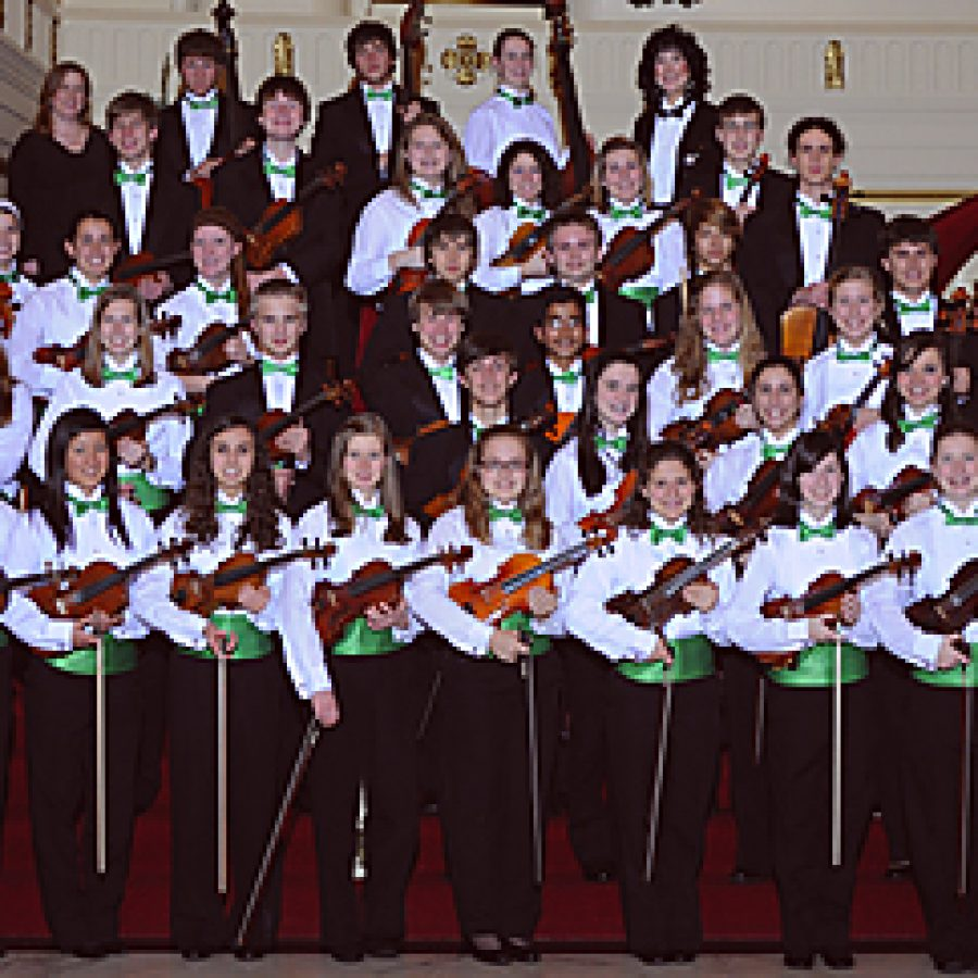 The Lindbergh High School Symphony Orchestra, shown above at Powell Hall, is one of just three schools chosen to play at the 72nd annual Missouri Music Educators Association state conference.