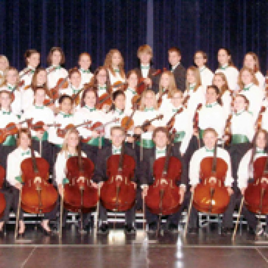 The Lindbergh High School Symphony Orchestra, above, will perform Friday at the Missouri Music Educators Association Conference in Osage Beach. The Sperreng Middle School Jazz Ensemble, below, also will perform and is the first middle school jazz band ever selected to participate in the event.