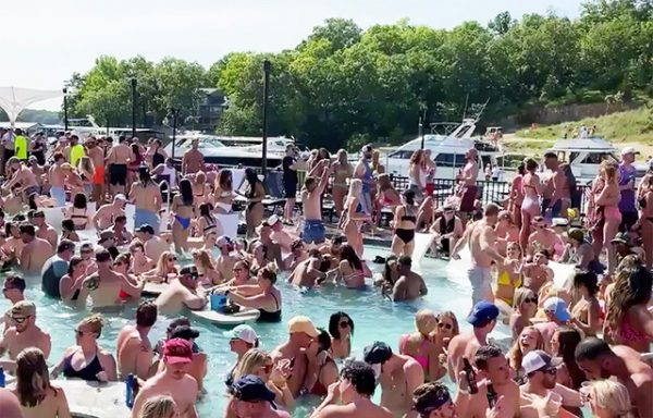 A screenshot from a video posted on Twitter of the parties at Lake of the Ozarks.