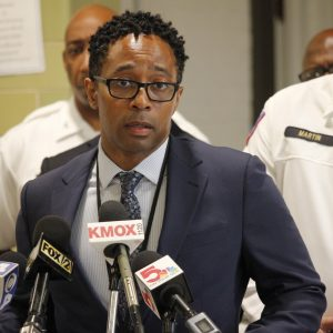 County Prosecuting Attorney Wesley Bell discusses the charge of first-degree murder in the killing of police Officer Michael Langsdorf Monday, June 24. Photo by Erin Achenbach.