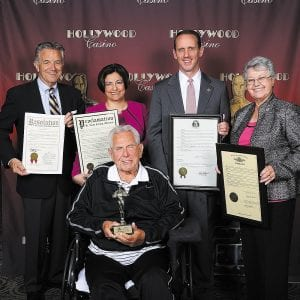 South County Chamber of Commerce Citizen of the Year Larry Volk is pictured with, back row, from left, 6th District County Councilman Ernie Trakas, Linda Henry Richie of County Executive Steve Stenger's office, Sen. Scott Sifton and Rep. Cloria Brown.