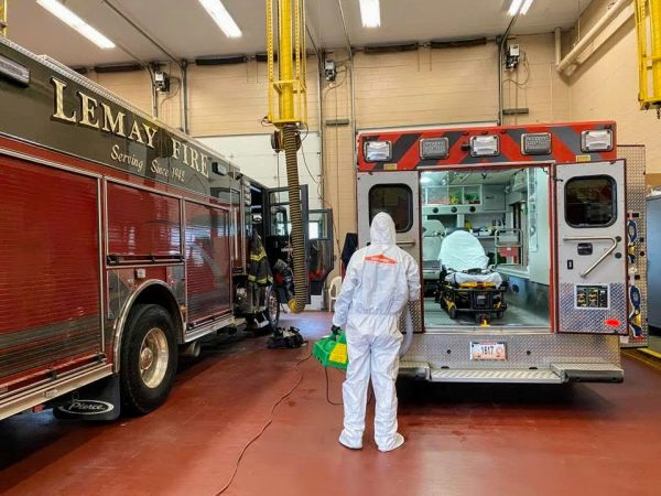 The Lemay Fire Protection District posted this photo of ServPro cleaning the firehouse in March.
