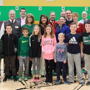 Dressel Elementary School students recently welcomed local elected officials on Dec. 8, for Lindbergh Schools' annual elected officials breakfast. Attendees, from left, are: Green Park Mayor Bob Reinagel; Crestwood Mayor Gregg Roby; Crestwood Alderman Grant Mabie; Barbara Fraser, education liaison for County Executive Steve Stenger; Grantwood Village Trustees Patricia Williams and Mark Kienstra; Rep. Sarah Unsicker; Sunset Hills Alderman Kurt Krueger; Sen. Scott Sifton; Fenton Alderman Chris Clauss; Green Park Alderman Michael Broughton; and Crestwood Alderman Justin Charboneau.