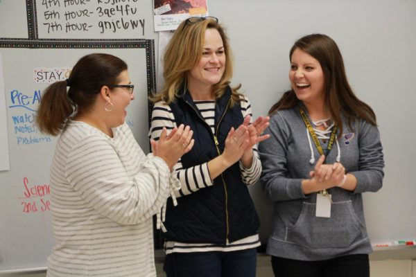 The Lindbergh Schools Foundation surprised (L-R) Shelli Manley, Julie Roy and Kristen Macke of Sperreng Middle School on Friday, Jan. 4 with a 2018 Spirit of Lindbergh teacher grant.