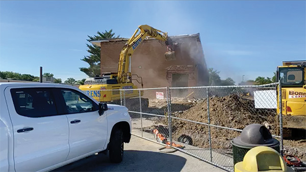 The LHS Math Building comes down.