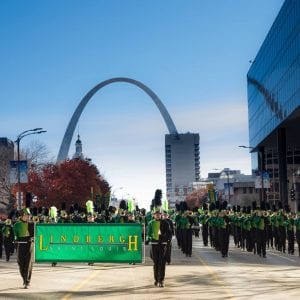 Lindbergh High Marching Band captures first place in Thanksgiving parade