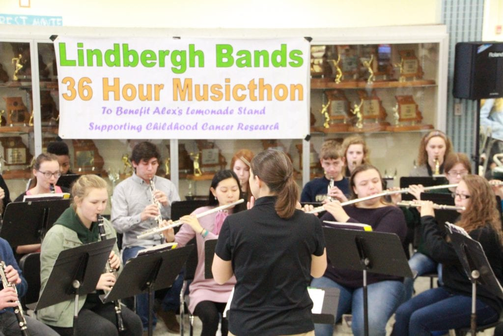 Lindbergh+High+School+band+members%2C+above%2C+raised+%242%2C500+during+the+fifth+annual+36-Hour+LHS+Musicthon+in+April+2018+to+raise+money+for+Alex%E2%80%99s+Lemonade+Stand+and+honor+a+young+band+buddy%2C+also+named+Alex%2C+who+died+in+2014+from+cancer+after+befriending+Lindbergh+band+members+during+Sunday+Night+Lights.