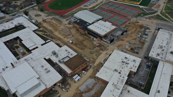 A drone photo of the Proposition R construction at Lindbergh High School.