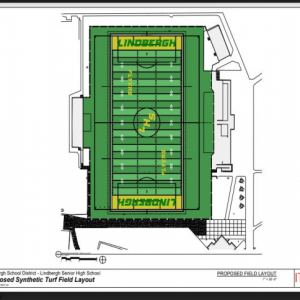 Pictured above: The proposed synthetic turf layout for the Lindbergh High School stadium.