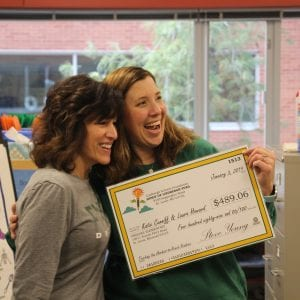 Laura Howard and Katie Cunniff of Dressel Elementary School show excitement for their 2018 Spirit of Lindbergh teacher grant from the Lindbergh Schools Foundation Jan. 4, 2019.