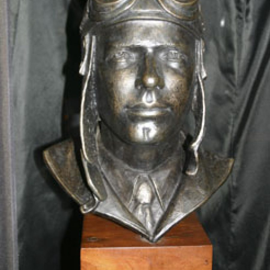 This sculpture depicting Charles A. Lindbergh at age 25 was created by artist Don Wiegand.