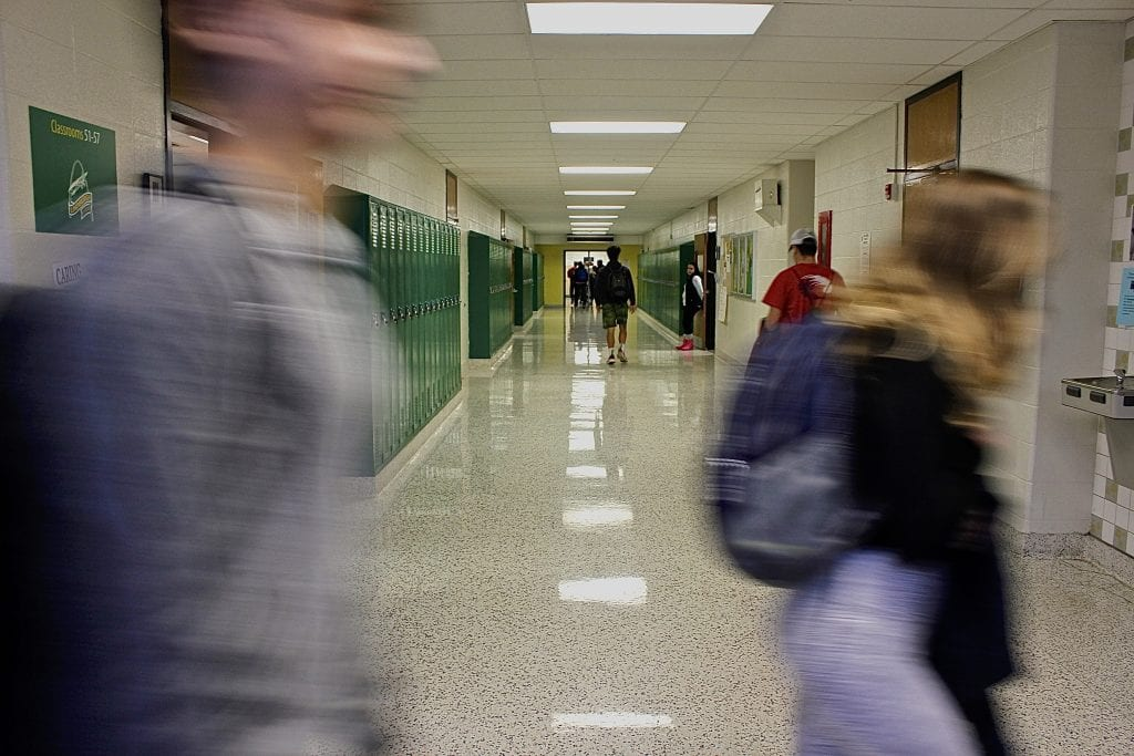 Students walk to class during the passing period at Lindbergh High School Thursday, Dec. 13, 2018.