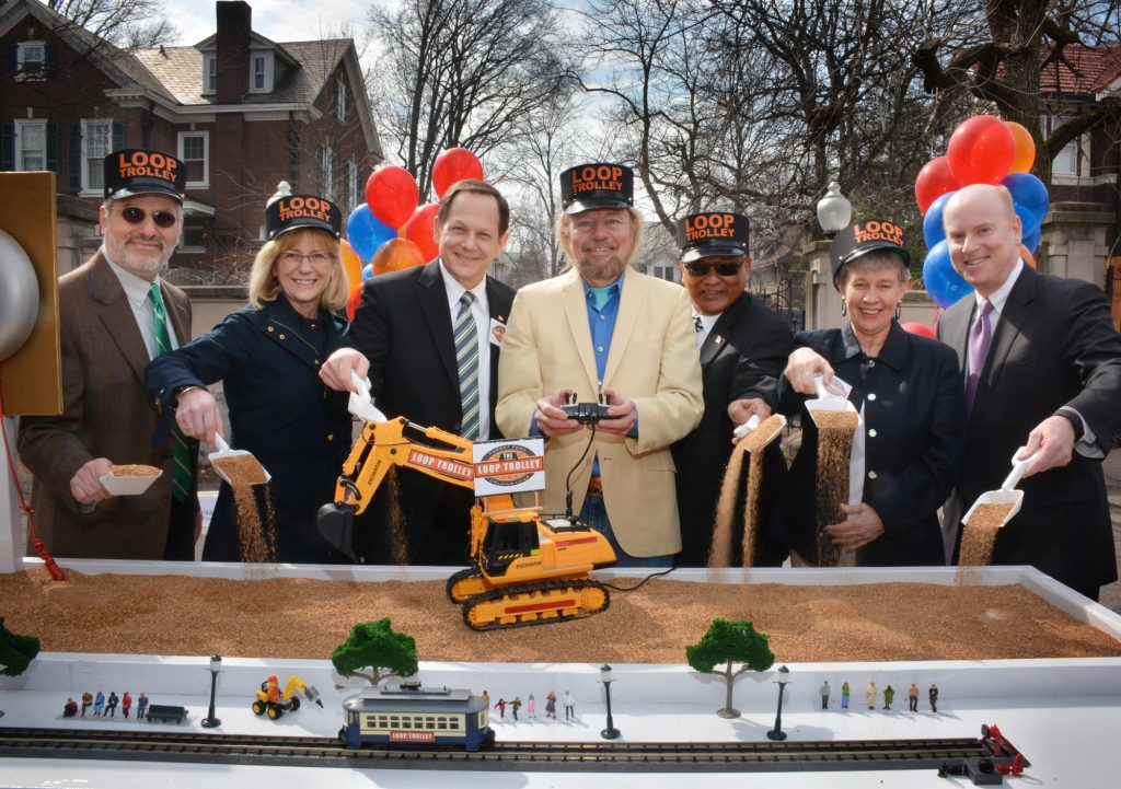 Then-County+Executive+Steve+Stenger+did+not+attend+the+March+12%2C+2015+groundbreaking+for+the+Loop+Trolley.+Officials+in+attendance%2C+from+left%2C+were+Les+Sterman+of+the+Loop+Trolley+Committee%3B+Susan+Trautman%2C+executive+director%2C+Great+Rivers+Greenway%3B+former+St.+Louis+Mayor+Francis+Slay%3B+Joe+Edwards%3B+Mokhtee+Ahmad%2C+region+administrator+of+Region+7+for+the+Federal+Transit+Authority%3B+former+University+City+Mayor+Shelley+Welsch%3B+and+former+Metro+CEO+John+Nations.