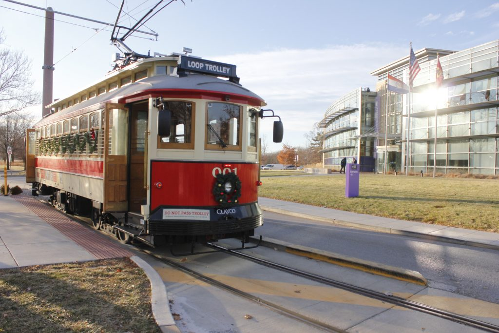 The+Loop+Trolley+completes+a+run%2C+with+the+last+stop+outside+the+Missouri+History+Museum+at+Forest+Park+back+in+December.+Photo+by+Erin+Achenbach.+