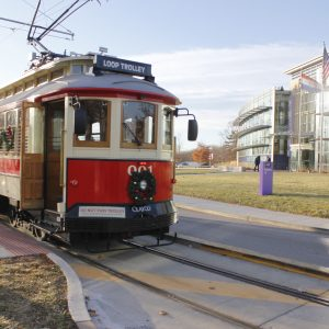 The Loop Trolley completes a run, with the last stop outside the Missouri History Museum at Forest Park back in December. Photo by Erin Achenbach.
