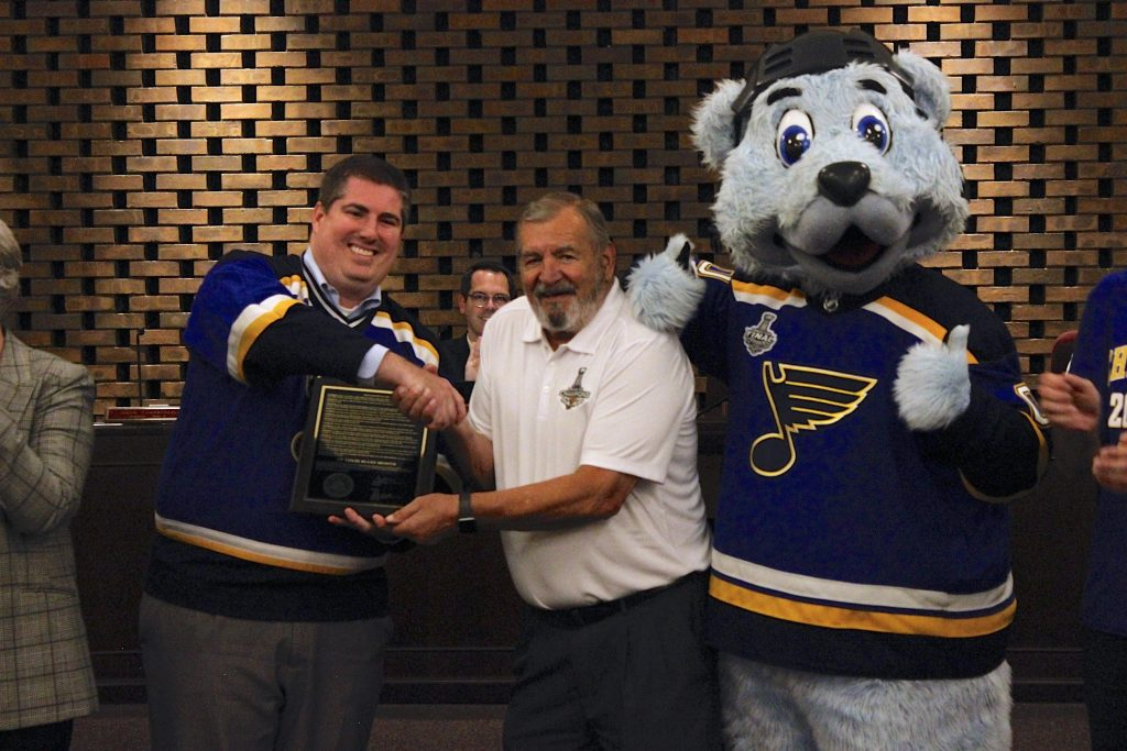 The Crestwood Board of Aldermen meeting had some special guests in 2019, when the city presented St. Louis Blues mascot Louie and Bob Plager, one of the franchise's first players, with a proclamation honoring the Blues and their Stanley Cup-winning season. 'The whole city of Crestwood was pulling for you, the whole St. Louis region was pulling for you,' said Mayor Grant Mabie, above left, as he presentedLouie and Plager with a copy of the proclamation at the Aug. 27 meeting.