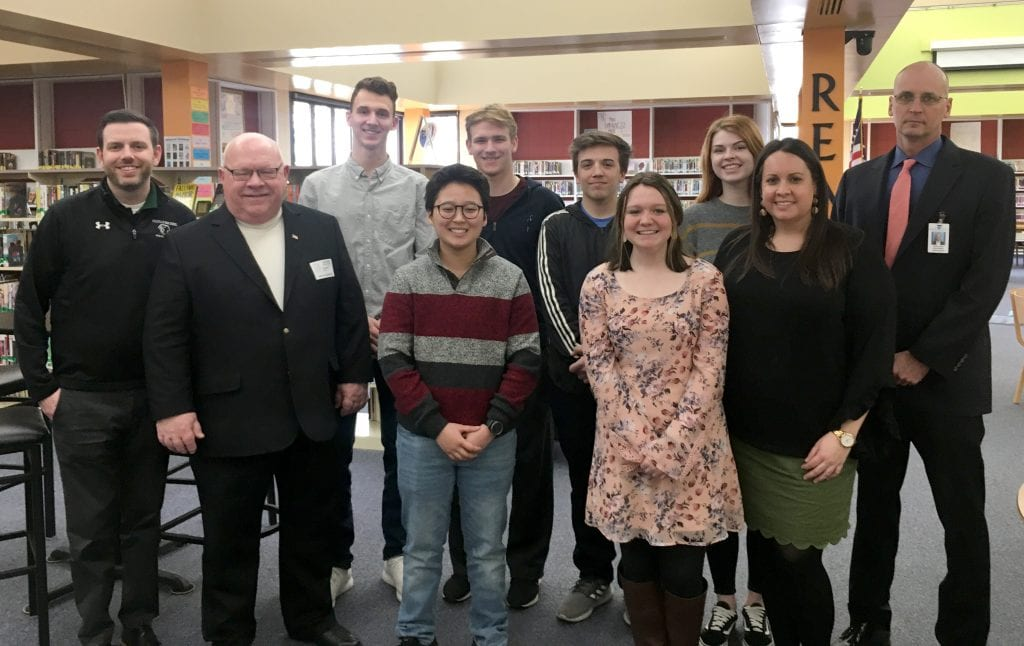Pictured+above%3A+The+Mehlville+MyPath+students+who+presented+March+8+pose+with+administrators+and+representatives.+Front+row%2C+from+left+to+right%3A%C2%A0Rep.+Bob+Burns%2C+D-Affton%2C+Jasper+Hong%2C+Sarah+Buck+and+Mehlville+MyPath+teacher+Jennifer+Sikich.+Back+Row%2C+from+left+to+right%3A+Mehlville+High+School+Assistant+Principal+Andrew+Ross%2C+Vincent+Troskey%2C+Edi+Maumutovic%2C+Kyle+Flowers%2C+Emma+Davis+and+Superintendent+Chris+Gaines.%C2%A0