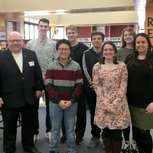 Pictured above: The Mehlville MyPath students who presented March 8 pose with administrators and representatives. Front row, from left to right:Rep. Bob Burns, D-Affton, Jasper Hong, Sarah Buck and Mehlville MyPath teacher Jennifer Sikich. Back Row, from left to right: Mehlville High School Assistant Principal Andrew Ross, Vincent Troskey, Edi Maumutovic, Kyle Flowers, Emma Davis and Superintendent Chris Gaines.