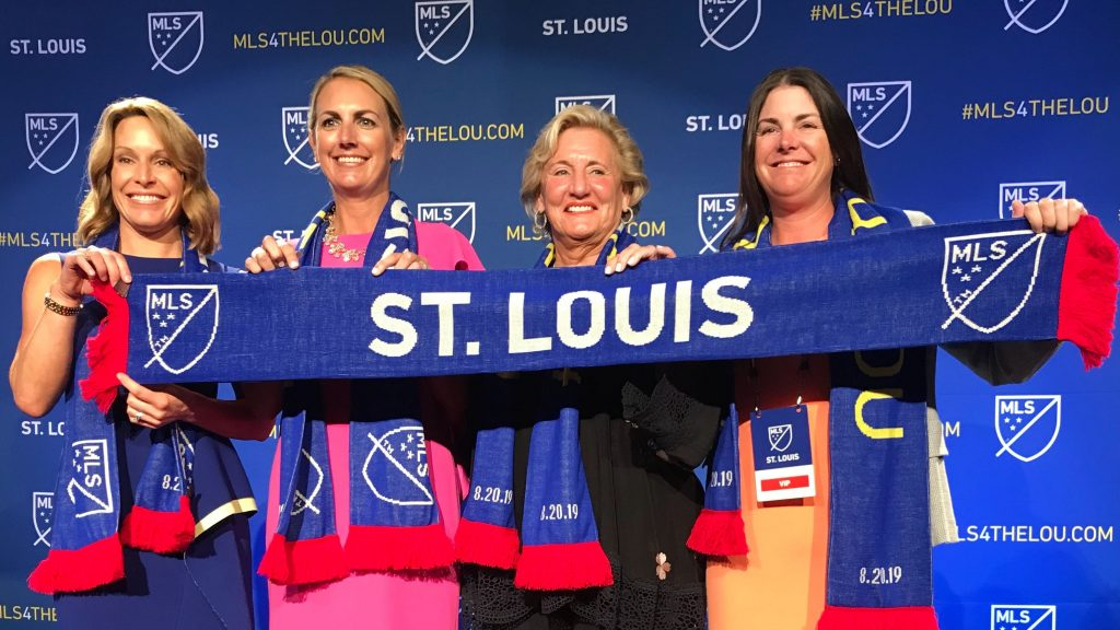 The female-majority team ownership of the new St. Louis MLS team, announced Aug. 20, 2019.