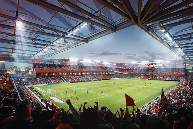 Every seat in the stadium will be within 120 feet of the pitch, the closest of any MLS stadium. The closest seats will sit just 20 feet from the touchline. Rendering courtesy of MLS4THELOU.com.