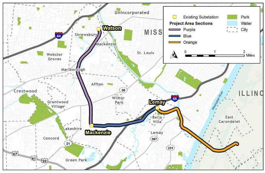 A map of the Metro South Reliability Project, showing the current easements and where the updates will be taking place. The project is scheduled to be completed by winter 2021. Image courtesy of Ameren Missouri.