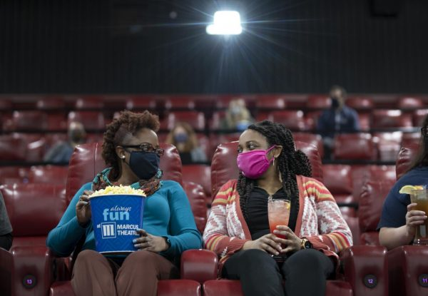Masked moviegoers at Marcus Theatres.