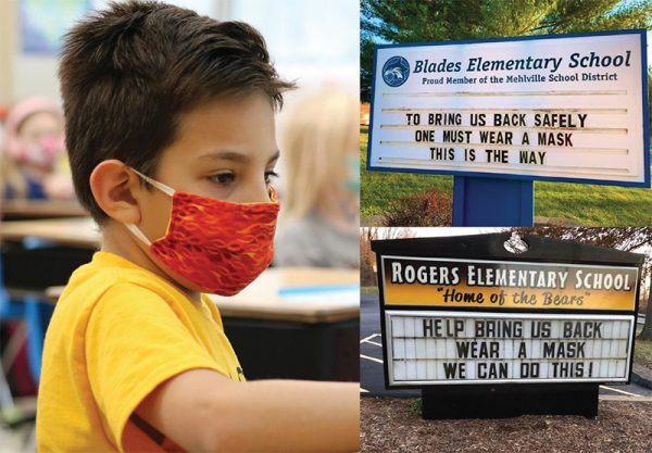 Above left, Rogers Elementary first grader Dominic Vallejo works at school wearing a mask Dec. 16 as school signs, right, ask the community to do the same.