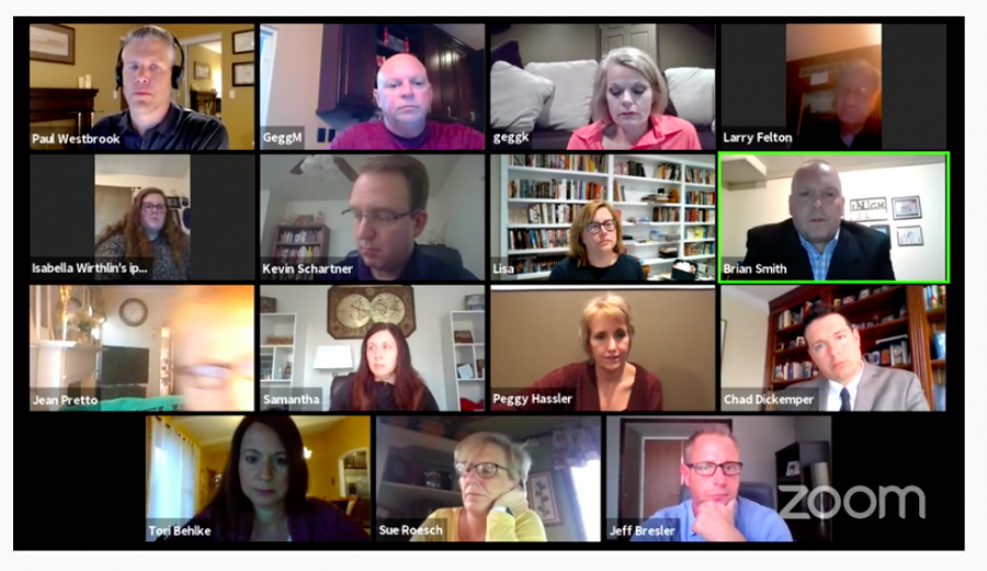 The+Mehlville+Board+of+Education+and+administrators+meet+virtually+through+the+videoconferencing+app+Zoom+Thursday+night.+