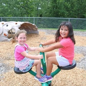 Mehlville's John Cary Early Childhood students Emma Kitchell and Yaneli Juarez-Carrillo check out their playground the first week at school in 2018.