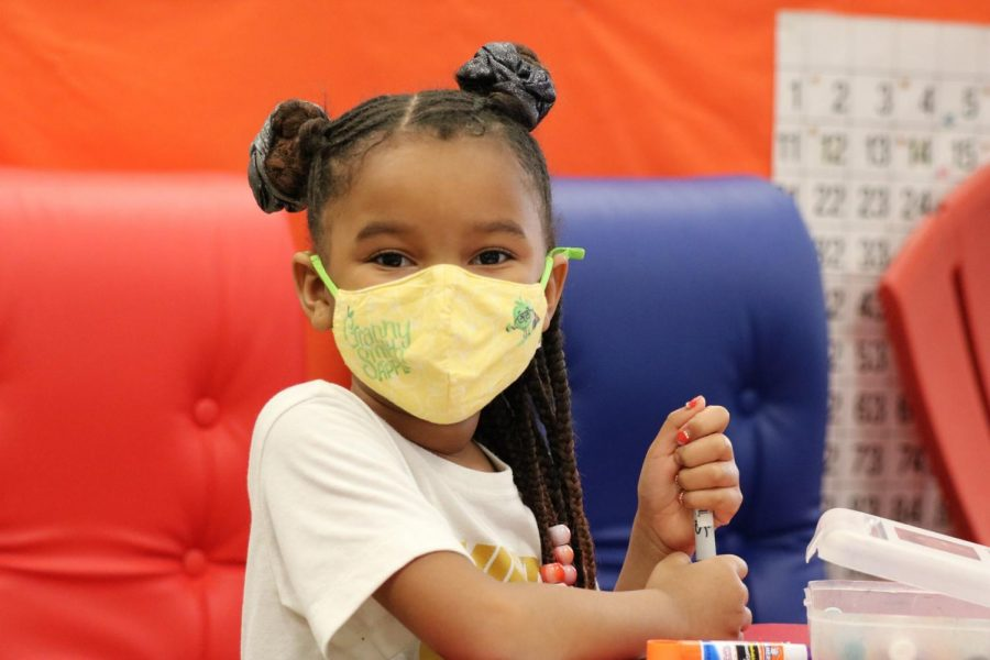 A Mehlville kindergartener returns to school five days a week in January 2021.