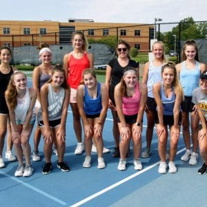 Oakville High School head coach Bill Ebert believes his varsity girls' tennis team could make it to sectionals this year. Photo by Bill Milligan.