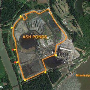 The Meramec Energy Center's ash ponds as seen from above, in a depiction from the Sierra Club.
