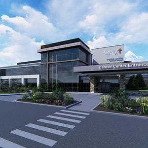 Pictured above: A rendering of the new Mercy South Sindelar Cancer Center, with its new name, that was unveiled last week.
