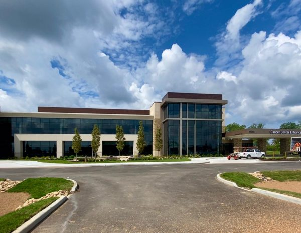 The completed exterior of the David Sindelar Cancer Center on the Mercy Hospital South campus.