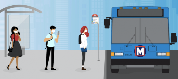 Metro Transit released this graphic of passengers wearing masks ahead of the requirement that went into effect Monday, May 11.