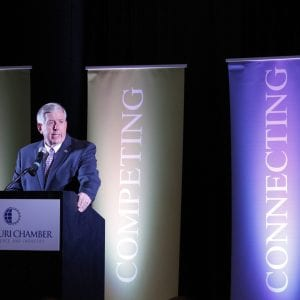 Gov. Mike Parson speaks with the Missouri Chamber of Commerce at the Renaissance St. Louis Airport Hotel to kick-off