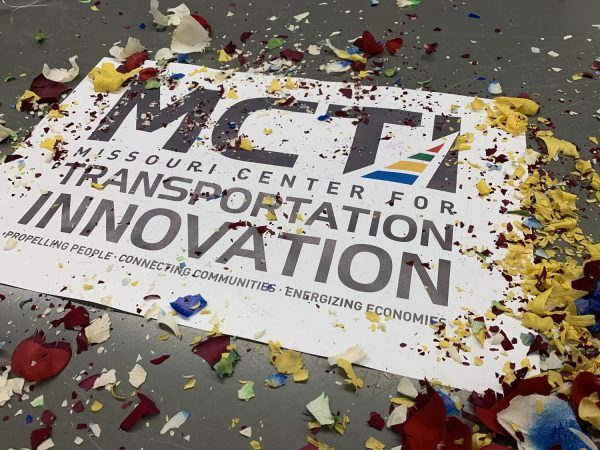A sign announcing the Missouri Center for Transportation Innovation at its kickoff event in late 2019.