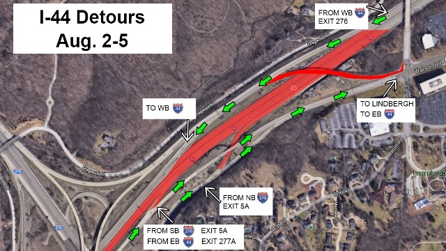 I-44 near I-270 to close Aug. 2 to Aug. 5 to set Watson ... Map Of I on hoover reservoir map, i 70 map, i 495 map, interstate 270 map,